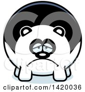 Clipart Of A Cartoon Depressed Chubby Panda Royalty Free Vector Illustration