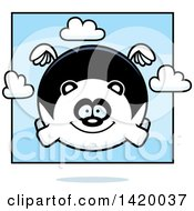 Clipart Of A Cartoon Chubby Panda Flying Royalty Free Vector Illustration