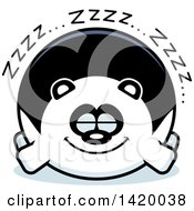 Clipart Of A Cartoon Chubby Panda Sleeping Royalty Free Vector Illustration by Cory Thoman