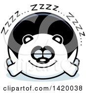 Clipart Of A Cartoon Chubby Panda Sleeping Royalty Free Vector Illustration