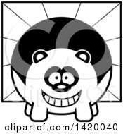 Clipart Of A Cartoon Black And White Lineart Chubby Panda Over Rays Royalty Free Vector Illustration