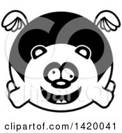 Clipart Of A Cartoon Black And White Lineart Chubby Crazy Panda Flying Royalty Free Vector Illustration