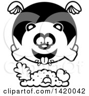 Clipart Of A Cartoon Black And White Lineart Chubby Panda Flying And Eating Royalty Free Vector Illustration