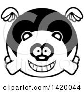 Clipart Of A Cartoon Black And White Lineart Chubby Panda Flying Royalty Free Vector Illustration