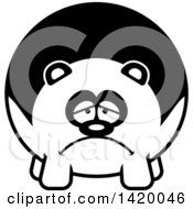 Clipart Of A Cartoon Black And White Lineart Depressed Chubby Panda Royalty Free Vector Illustration
