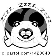 Clipart Of A Cartoon Black And White Lineart Chubby Panda Sleeping Royalty Free Vector Illustration
