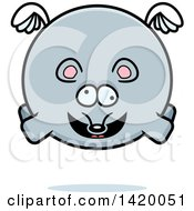 Clipart Of A Cartoon Chubby Crazy Mouse Flying Royalty Free Vector Illustration