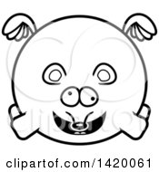 Clipart Of A Cartoon Black And White Lineart Chubby Crazy Mouse Flying Royalty Free Vector Illustration