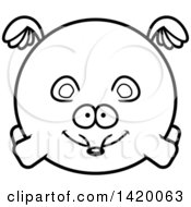 Cartoon Black And White Lineart Chubby Mouse Flying