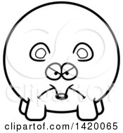 Cartoon Black And White Lineart Mad Chubby Mouse