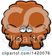 Cartoon Depressed Chubby Woolly Mammoth