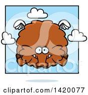 Cartoon Chubby Woolly Mammoth Flying