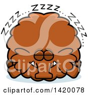 Cartoon Chubby Woolly Mammoth Sleeping