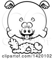 Clipart Of A Cartoon Black And White Lineart Chubby Hippo Flying And Eating Royalty Free Vector Illustration