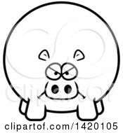 Clipart Of A Cartoon Black And White Lineart Mad Chubby Hippo Royalty Free Vector Illustration