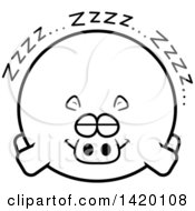 Clipart Of A Cartoon Black And White Lineart Chubby Hippo Sleeping Royalty Free Vector Illustration