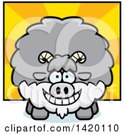 Clipart Of A Cartoon Chubby Goat Over Rays Royalty Free Vector Illustration by Cory Thoman