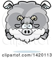 Clipart Of A Cartoon Chubby Goat Flying Royalty Free Vector Illustration