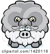 Clipart Of A Cartoon Depressed Chubby Goat Royalty Free Vector Illustration