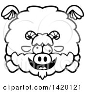 Clipart Of A Cartoon Black And White Lineart Chubby Crazy Goat Flying Royalty Free Vector Illustration