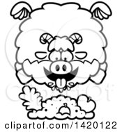 Clipart Of A Cartoon Black And White Lineart Chubby Goat Flying And Eating Royalty Free Vector Illustration