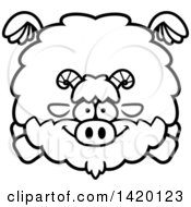 Clipart Of A Cartoon Black And White Lineart Chubby Goat Flying Royalty Free Vector Illustration