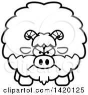 Clipart Of A Cartoon Black And White Lineart Mad Chubby Goat Royalty Free Vector Illustration