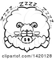 Cartoon Black And White Lineart Chubby Goat Sleeping