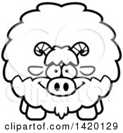 Clipart Of A Cartoon Black And White Lineart Chubby Goat Royalty Free Vector Illustration