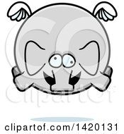 Clipart Of A Cartoon Chubby Crazy Elephant Flying Royalty Free Vector Illustration