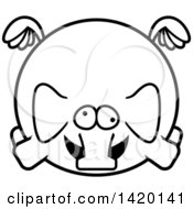 Clipart Of A Cartoon Black And White Lineart Chubby Crazy Elephant Flying Royalty Free Vector Illustration