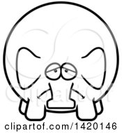 Clipart Of A Cartoon Black And White Lineart Depressed Chubby Elephant Royalty Free Vector Illustration