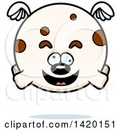 Clipart Of A Cartoon Chubby Craszy Dog Flying Royalty Free Vector Illustration