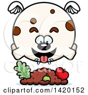 Clipart Of A Cartoon Chubby Dog Flying And Eating Royalty Free Vector Illustration