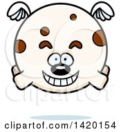 Clipart Of A Cartoon Chubby Dog Flying Royalty Free Vector Illustration