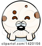 Clipart Of A Cartoon Depressed Chubby Dog Royalty Free Vector Illustration