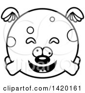 Clipart Of A Cartoon Black And White Lineart Chubby Craszy Dog Flying Royalty Free Vector Illustration