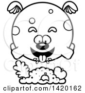 Clipart Of A Cartoon Black And White Lineart Chubby Dog Flying And Eating Royalty Free Vector Illustration
