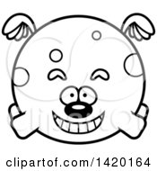 Clipart Of A Cartoon Black And White Lineart Chubby Dog Flying Royalty Free Vector Illustration