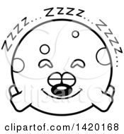 Clipart Of A Cartoon Black And White Lineart Chubby Dog Sleeping Royalty Free Vector Illustration