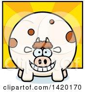 Cartoon Chubby Cow Over Rays