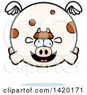 Clipart Of A Cartoon Chubby Crazy Cow Flying Royalty Free Vector Illustration