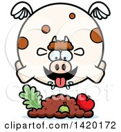 Cartoon Chubby Cow Flying And Eating