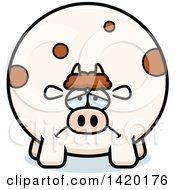 Clipart Of A Cartoon Depressed Chubby Cow Royalty Free Vector Illustration by Cory Thoman