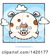 Clipart Of A Cartoon Chubby Cow Flying Royalty Free Vector Illustration by Cory Thoman