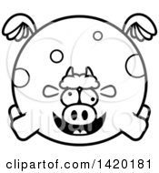 Clipart Of A Cartoon Black And White Lineart Chubby Crazy Cow Flying Royalty Free Vector Illustration