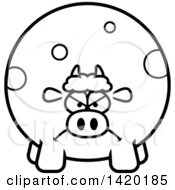 Cartoon Black And White Lineart Mad Chubby Cow