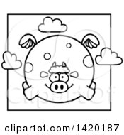 Cartoon Black And White Lineart Chubby Cow Flying