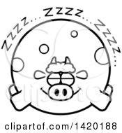 Cartoon Black And White Lineart Chubby Cow Sleeping