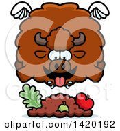 Clipart Of A Cartoon Chubby Buffalo Flying And Eating Royalty Free Vector Illustration by Cory Thoman